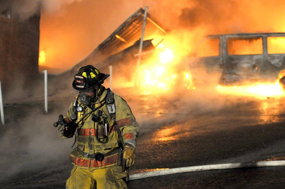 fireman at a building fire