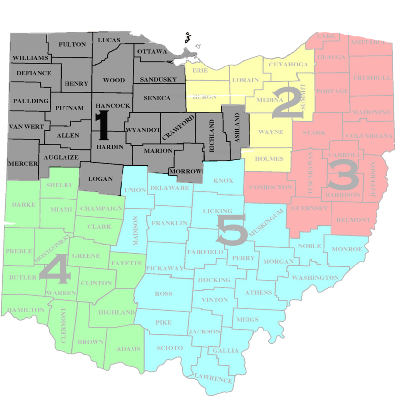 Map of North West Ohio District-1