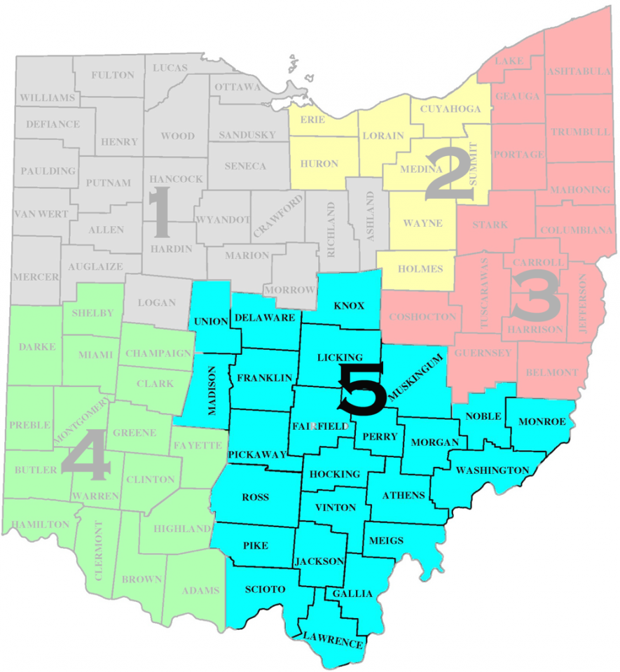 Map of South East Ohio District-5